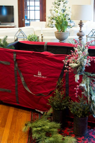 Great Storage Options from Balsam Hill, like this greenery bag - Finding Silver Pennies