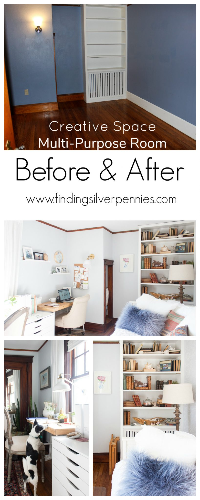 Creative Space Multi-Purpose Room Before & After - Finding Silver Pennies