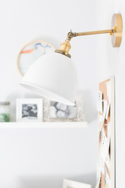 Fantastic modern brass and enamel light. Perfect for office and creative spaces - Finding Silver Pennies