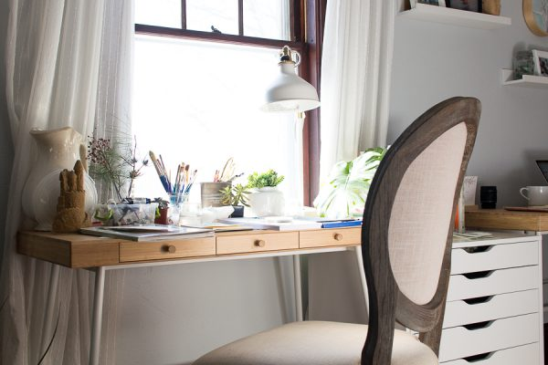 Perfect spot for creating, Swedish style desk and neutral decor with lots of natural light.