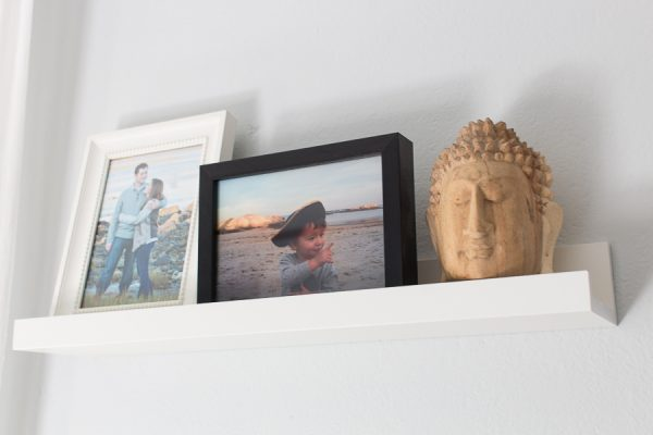Picture ledges are perfect low profile display shelves - Finding Silver Pennies