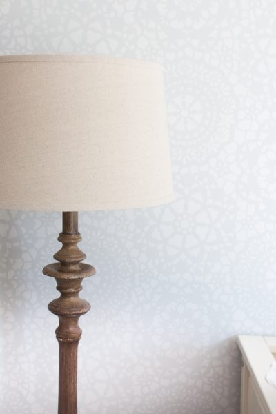 Pretty lace stencil wall - Finding Silver Pennies