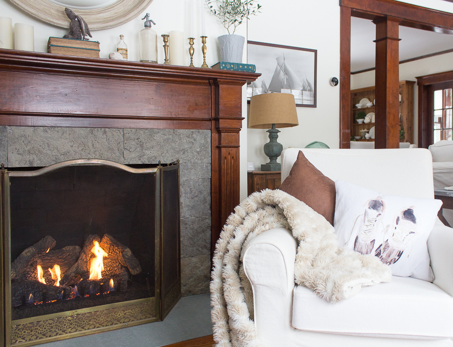 Faux Fur Throws and Roaring Fire - Perfect Winter Living Room I Finding Silver Pennies