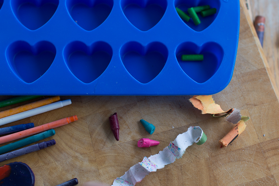 Sort crayons, peel and chop to make your own heart crayons I Finding Silver Pennies