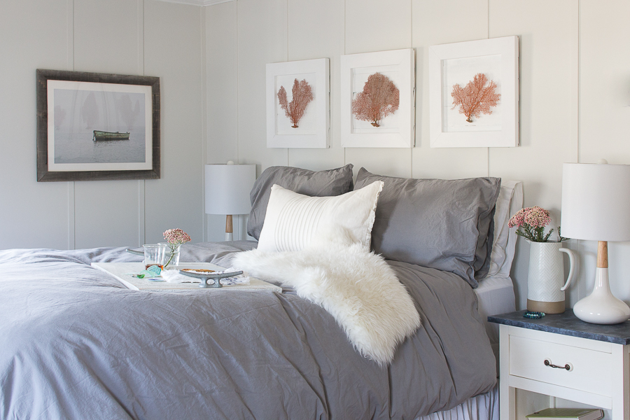 Romantic Winter Bedroom. Warm Gray Linens, a Sheep Skin and pretty Pillows I Finding Silver Pennies