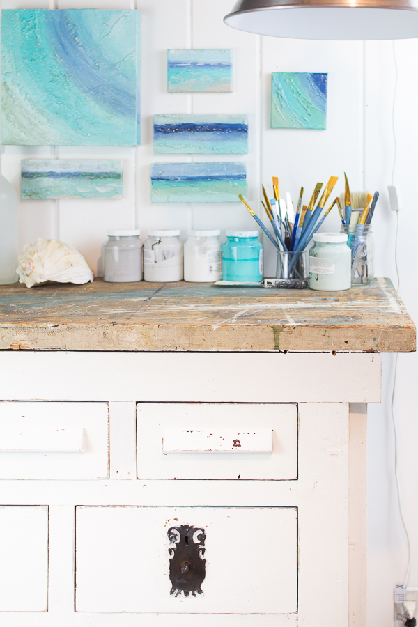 Coastal Studio Space - A Refreshed Vintage Workbench and Coastal Art I Finding Silver Pennies