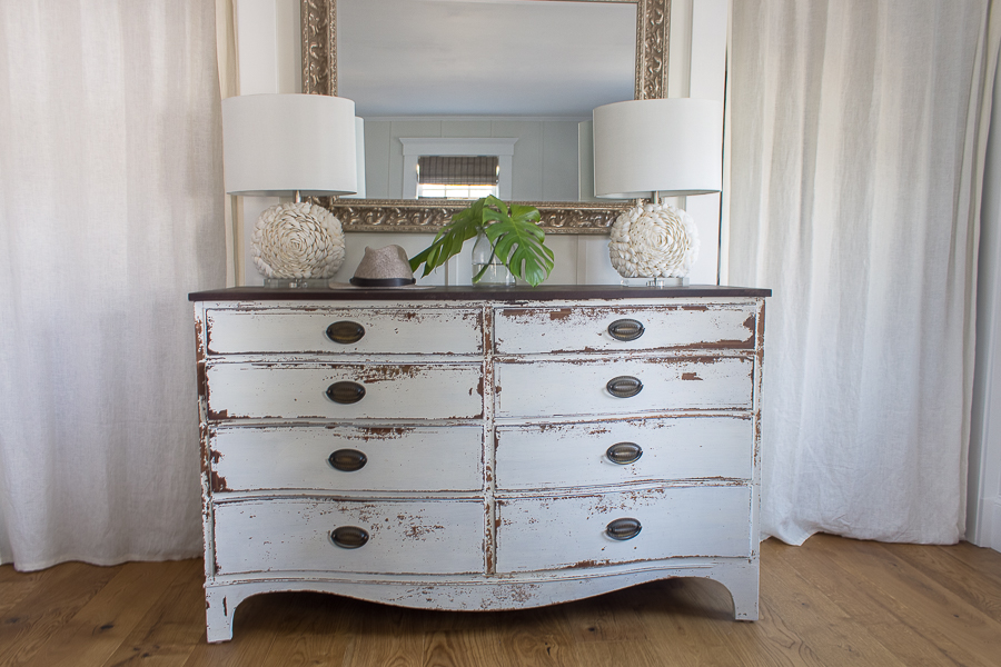 Chippy Dresser, Shell Lamps and Curtained Closet. Coastal Bedroom is Relaxing I Finding Silver Pennies