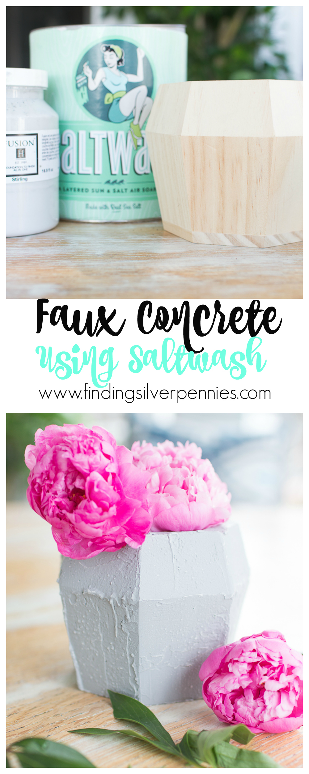 Easy step by step Faux Concrete Using Saltwash with Video I Finding Silver Pennies