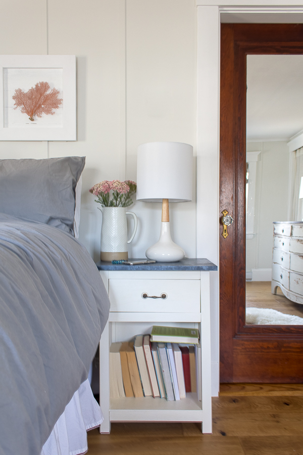 Pretty painted nightstand and coral wall art I Finding Silver Pennies