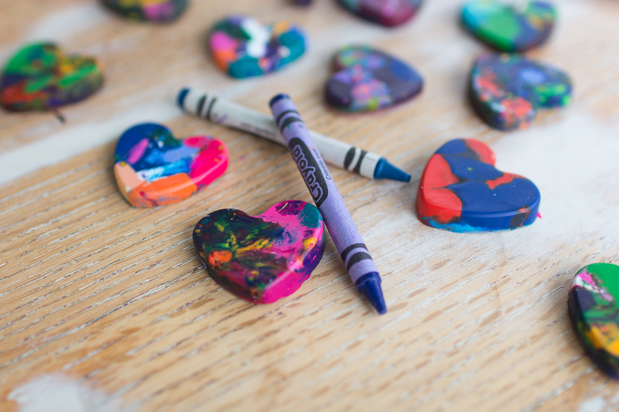 Colorful DIY Heart Crayons I Finding Silver Pennies