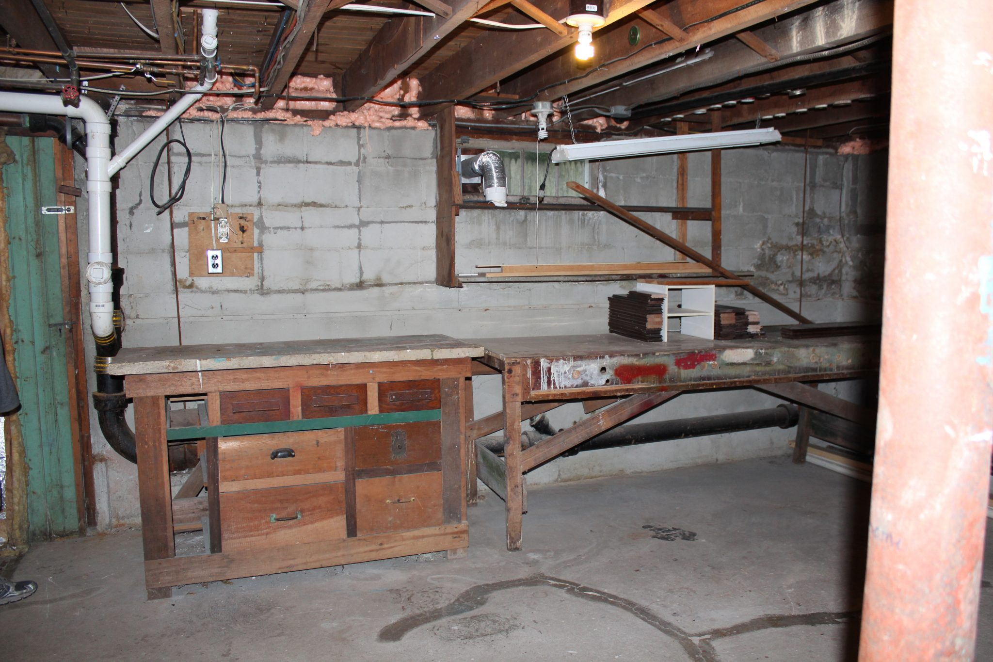 Workbench Before in our Basement I Finding Silver Pennies
