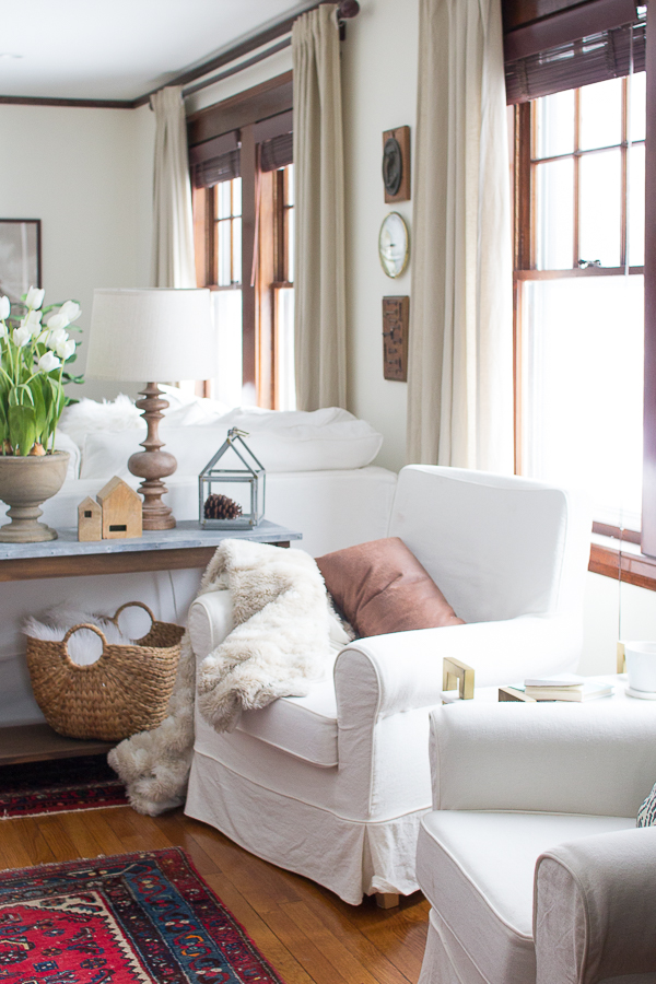 Coastal Neutral Living Room - Slipcovered Chairs, white Walls, Dark Woodwork and Oriental Rugs I Finding Silver Pennies