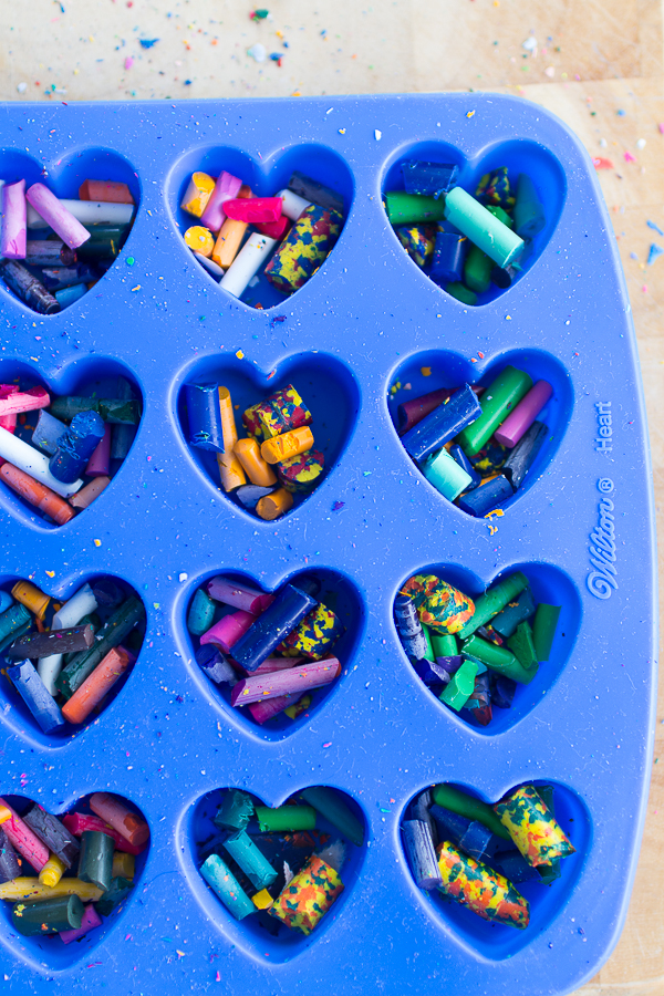 Fill a heart baking molds to make heart crayons I Finding Silver Pennies