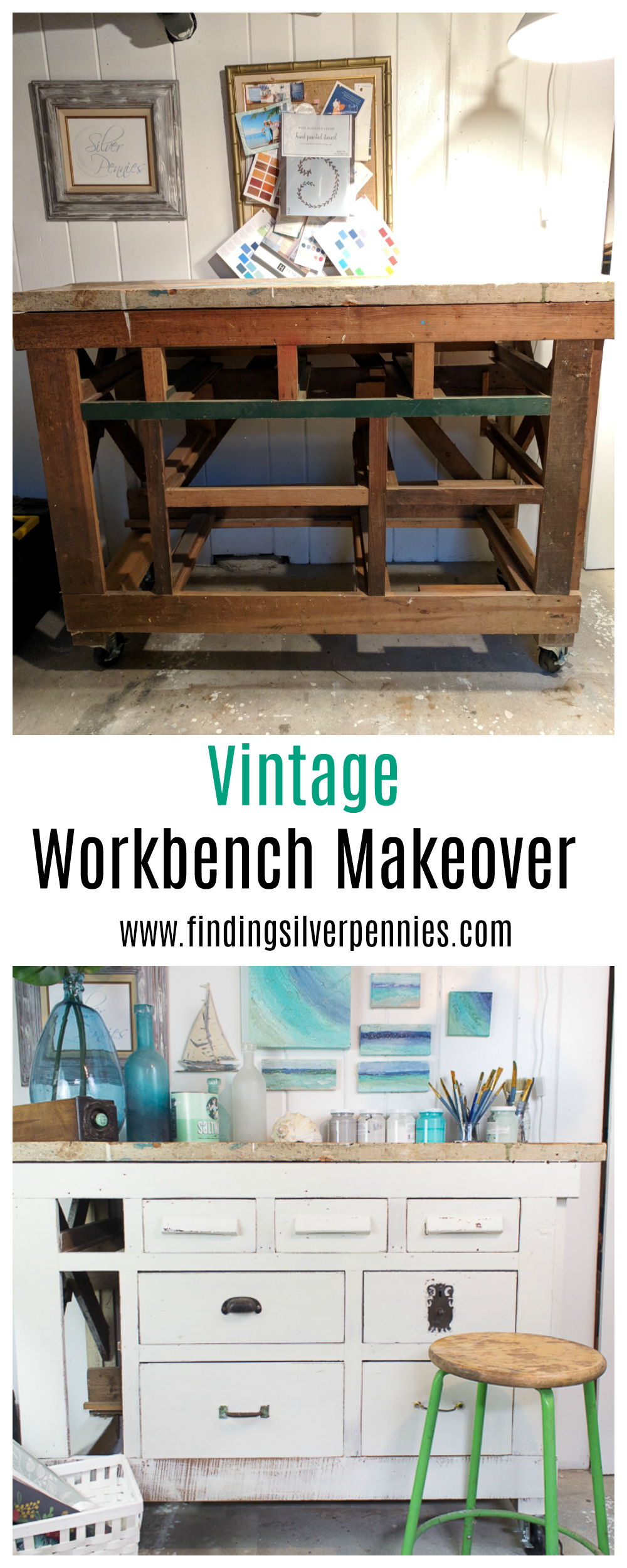 A Vintage Workbench Makeover with Milk Paint I Finding Silver Pennies