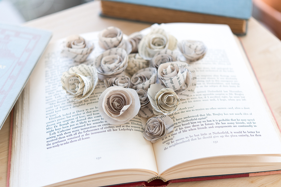 Pretty Paper Roses Bursting Out of a Book - Finding Silver Pennies
