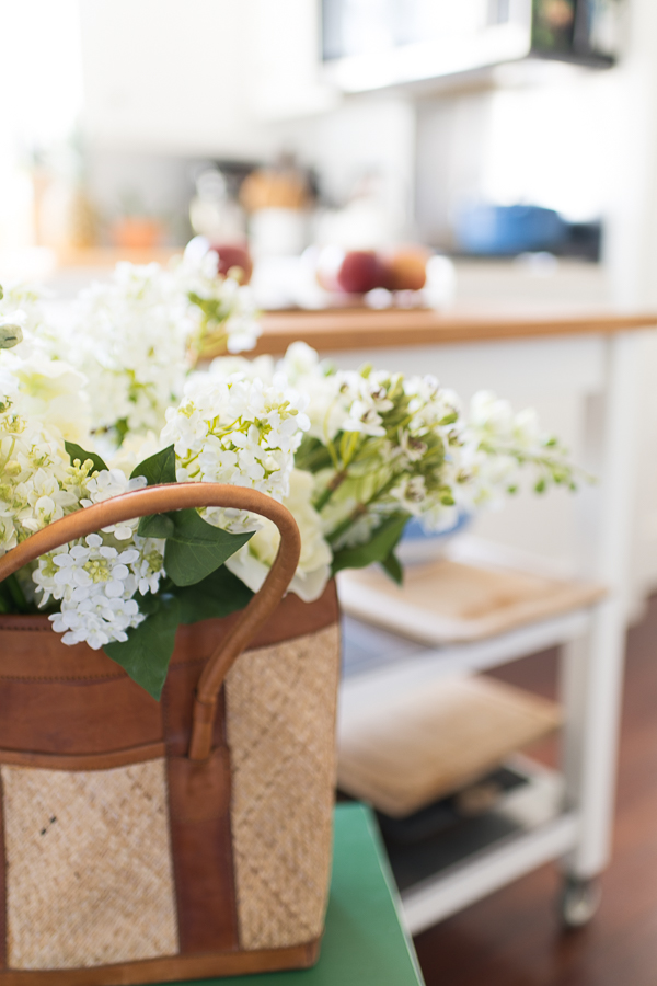 Pretty Flowers in a Bright Coastal Kitchen - Finding Silver Pennies