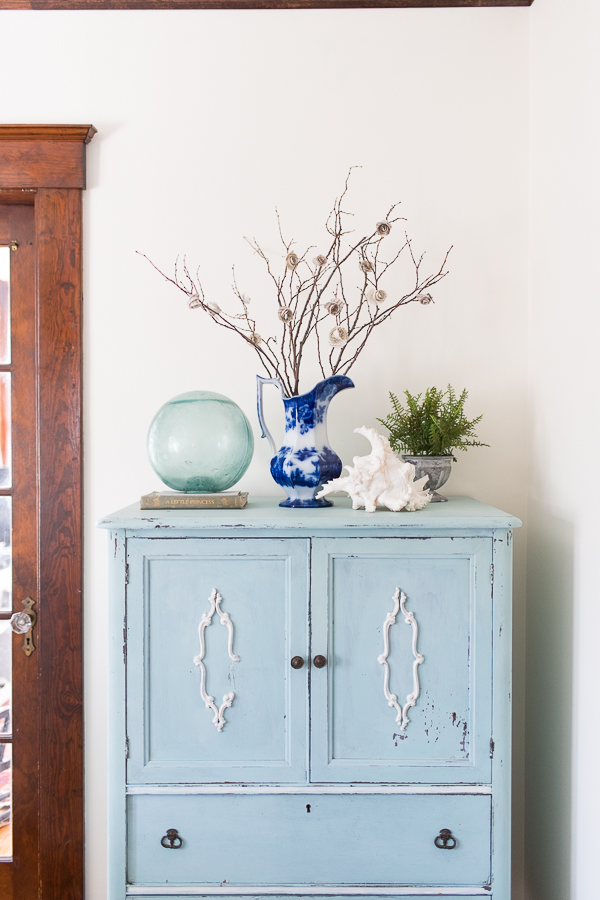 Chippy Milk Paint Cabinet and Handmade Paper Roses - Finding Silver Pennies