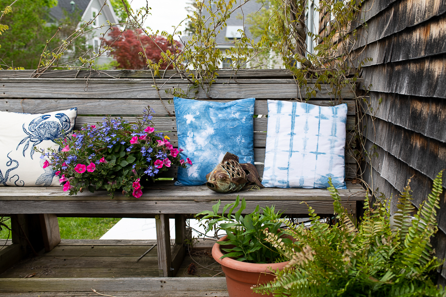 DIY Shibori Pillows Add Comfort and Color to a New England Deck - Finding Silver Pennies
