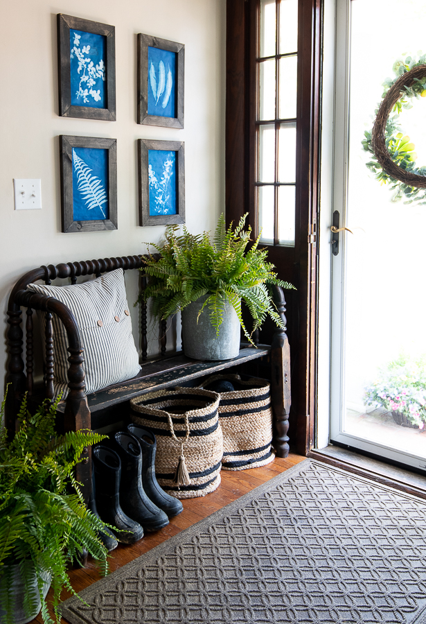 Our Summer Front Hall with DIY Sunprints - Finding Silver Pennies