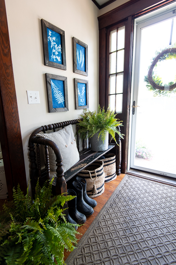 Pretty New England Entry in an Historic Home with DIY art - Finding Silver Pennies