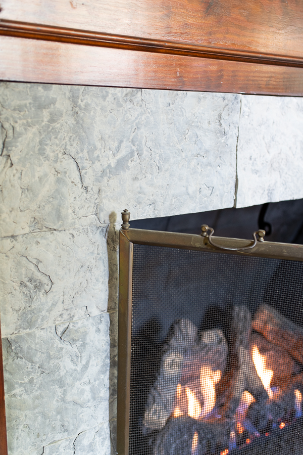 Fireplace Refaced in Heartland Stone, Fossilized Ocean Floor - Finding Silver Pennies