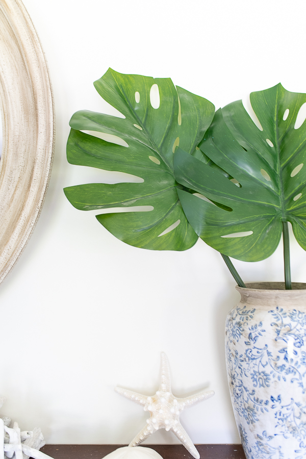 Monstera Leaves in a Blue and White Vase - Finding Silver Pennies