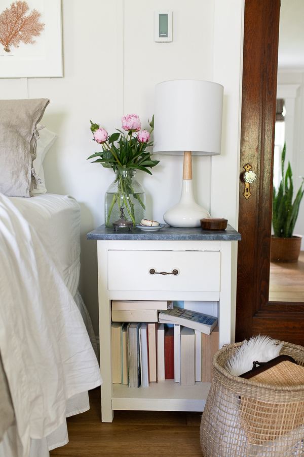 Bedside table and pretty coastal elements in our bedroom - Finding Silver Pennies