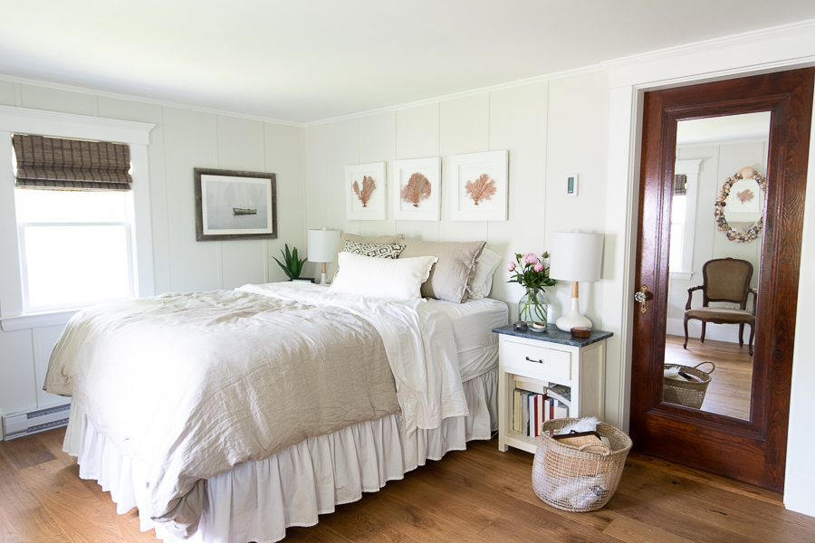 Serene Coastal Bedroom with board and batten walls - Finding Silver Pennies
