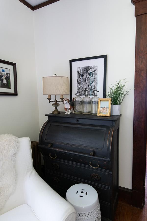Antique black desk, corner of living room - Finding Silver Pennies