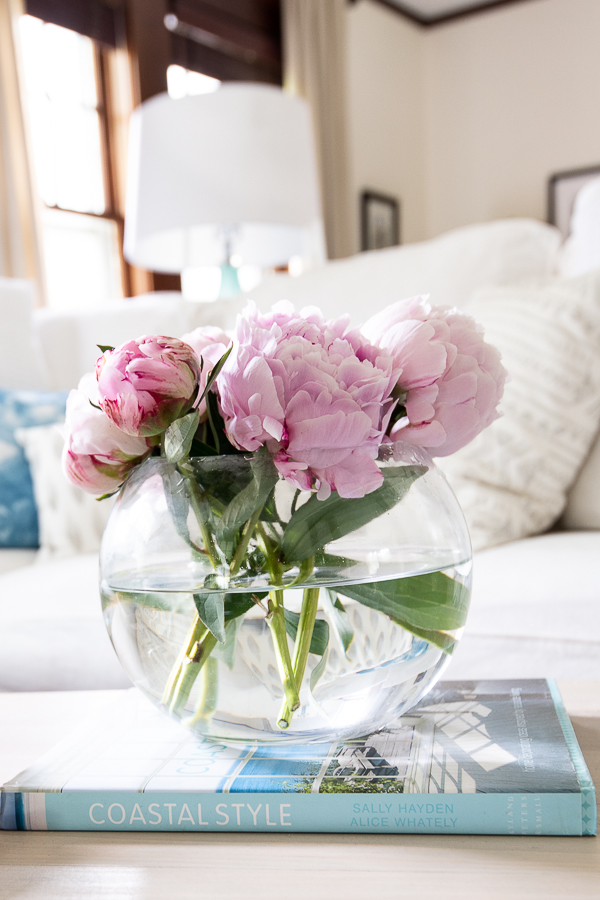 Fresh peonies in the living room - Finding Silver Pennies