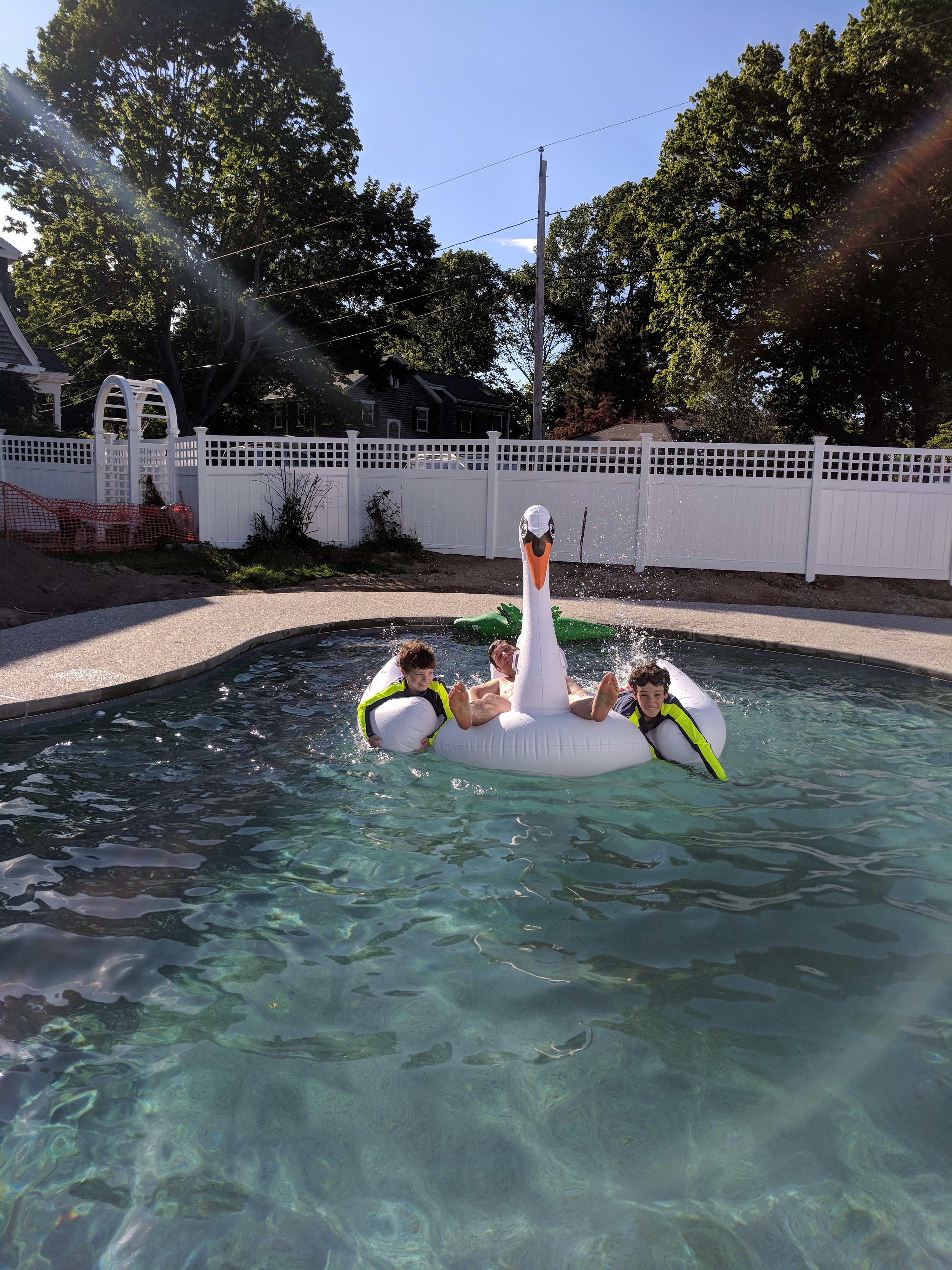 My boys enjoying our new pool - Finding Silver Pennies