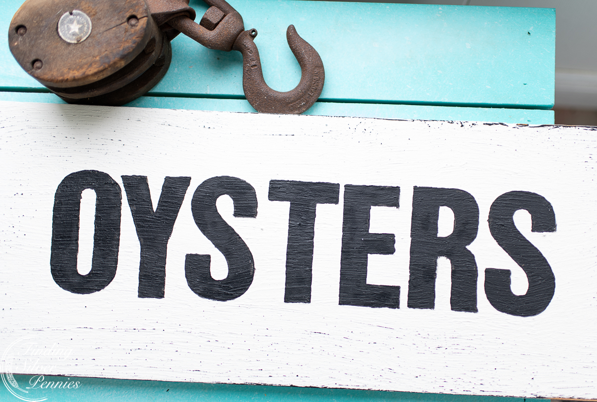 Fresh Oysters sign and nautical decor - Finding Silver Pennies