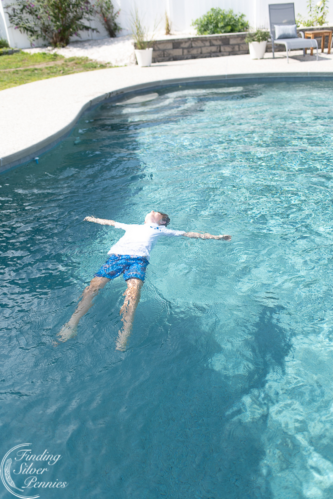 Pool fun with the kids - Finding Silver Pennies