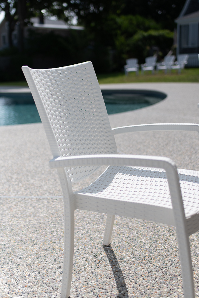 Woven plastic chairs are ideal for outdoor dining especially with wet swimsuits - Finding Silver Pennies