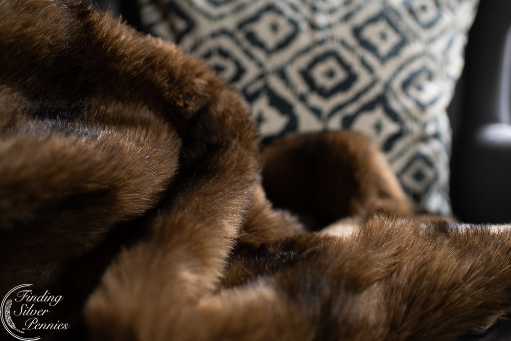 faux fur and painterly pillows
