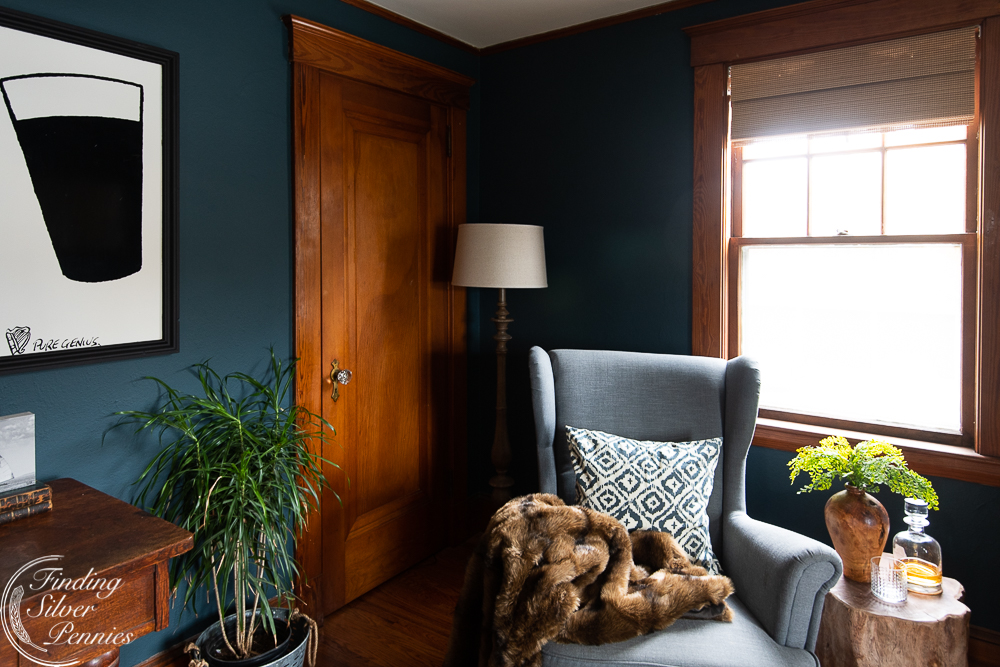 Masculine office in New England coastal home