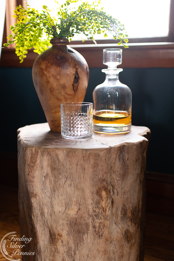 stump table, decanter and root vase