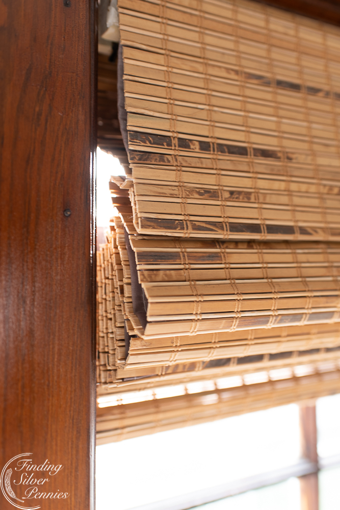 Bamboo shades are durable but add an airy coastal look.#romanshades #wovenblinds #bamboo #coastal