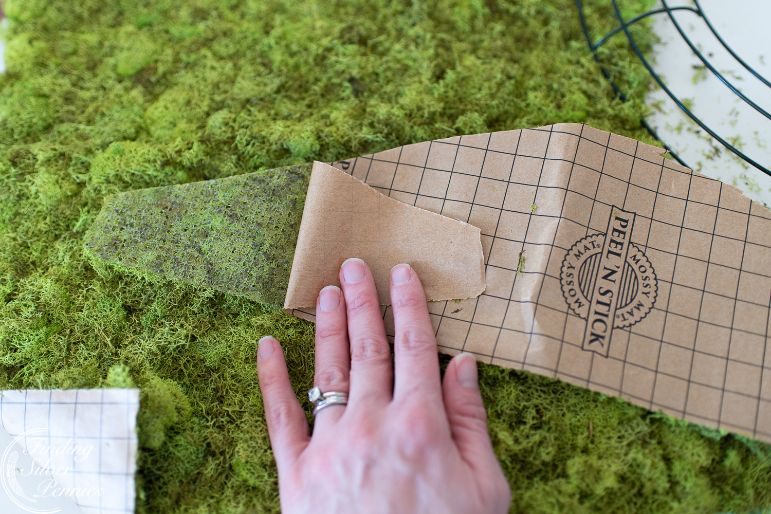 Peel n Stick Moss and what to make with it! #moss #crafts #DIYmosswreath #diymossnapkinrings #winterdecorating #hygge #cozyliving