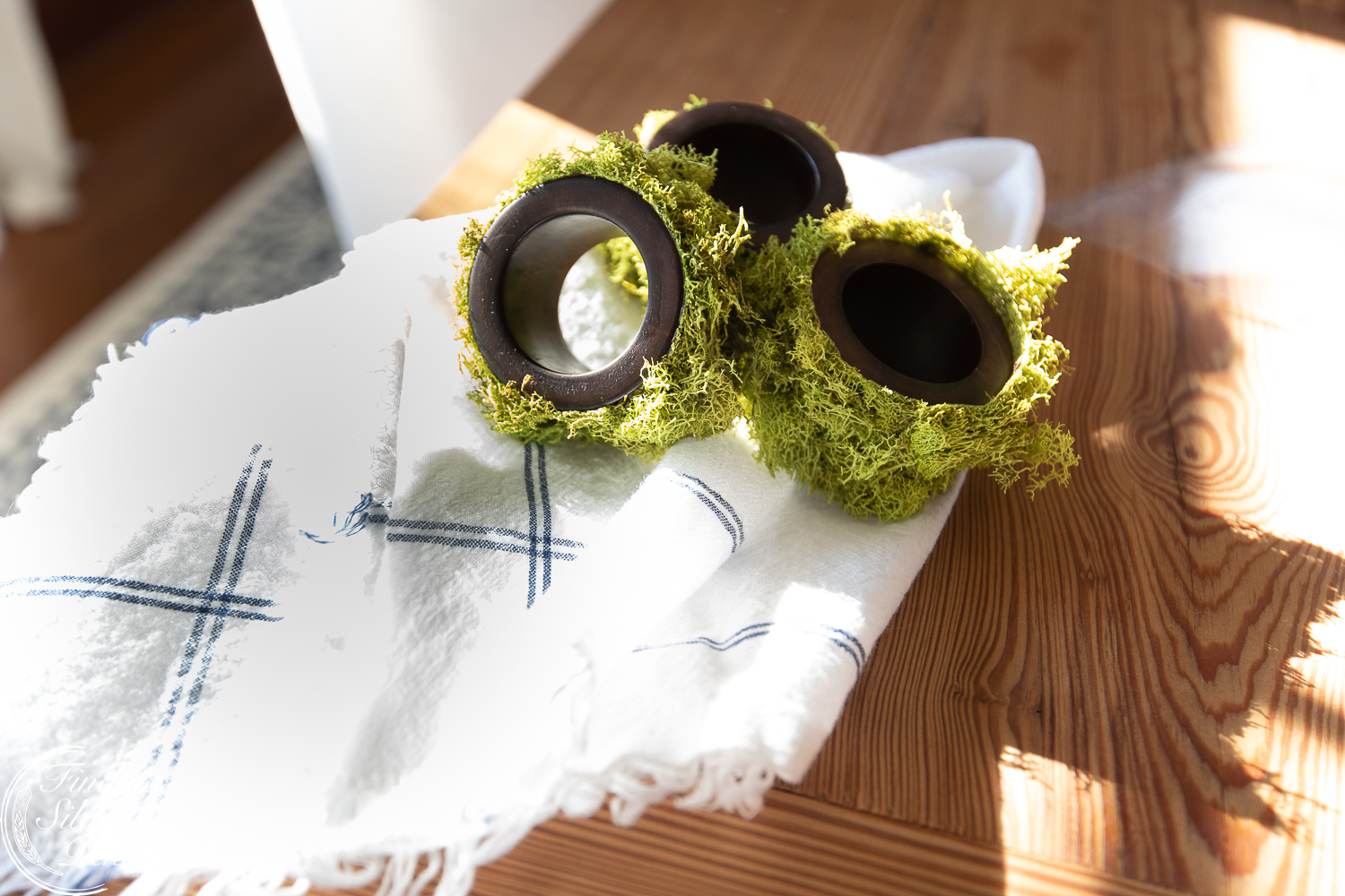 Simple wood and moss napkin holders #moss #crafts #DIYmosswreath #diymossnapkinrings #winterdecorating #hygge #cozyliving