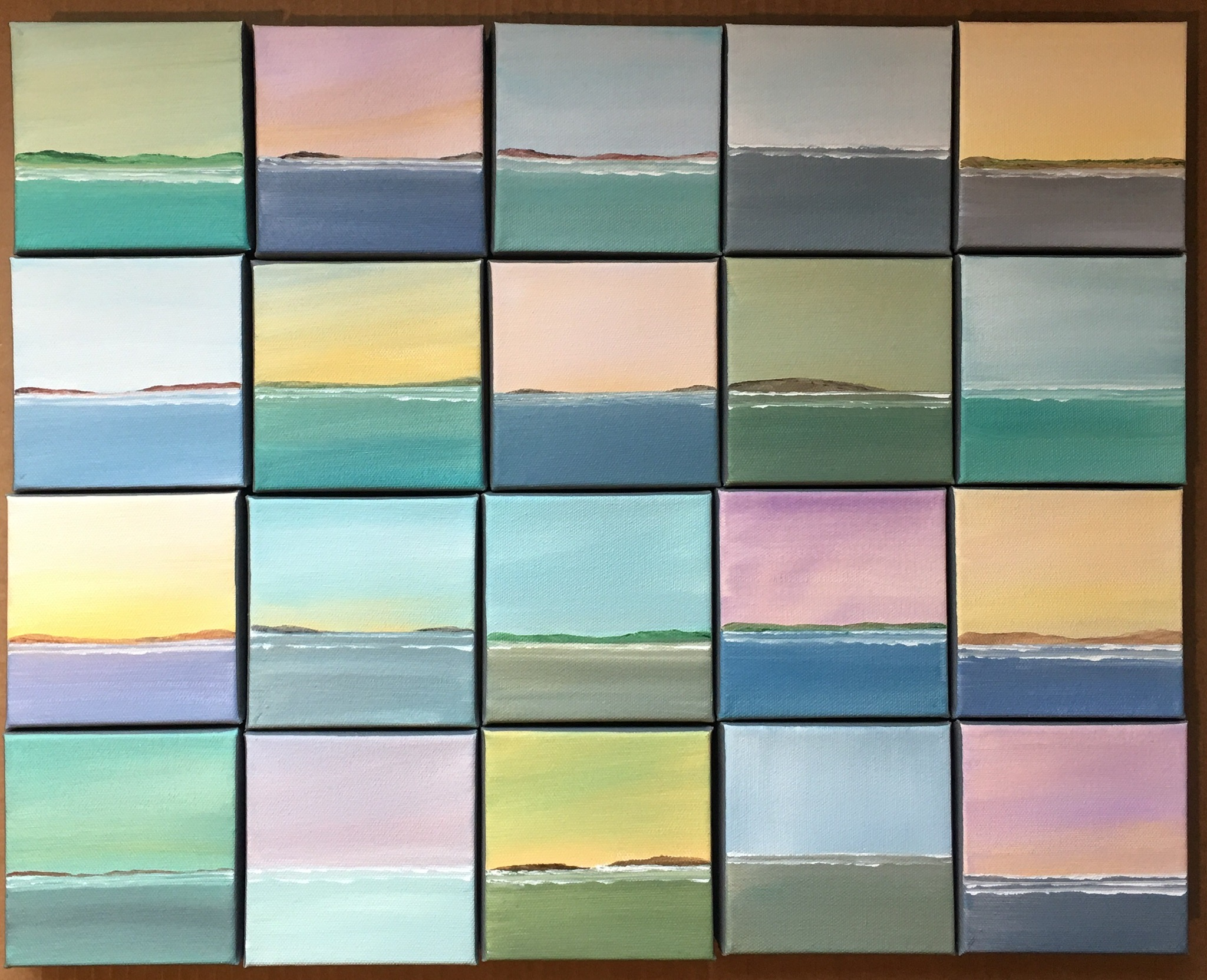 A collection of canvases by Becky O'Toole #interview #creativity #coastal #seascapes