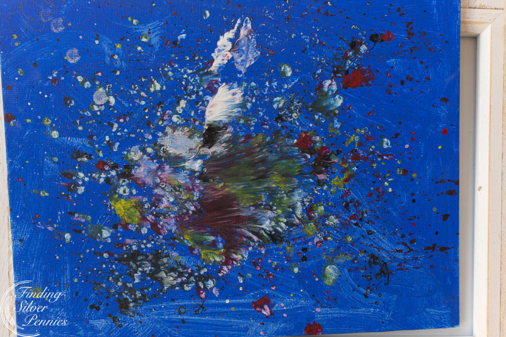 Splatter art by our 9 year old   Finding Silver Pennies