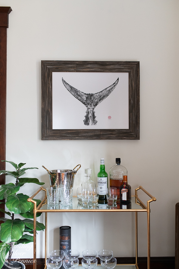 A corner of our living room | Finding Silver Pennies #seaside #newengland #barcart