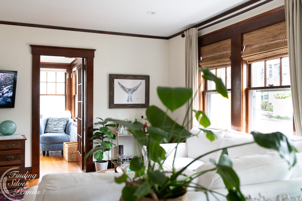Beach Inspired Living Room with Dark Woodwork | Finding Silver Pennies