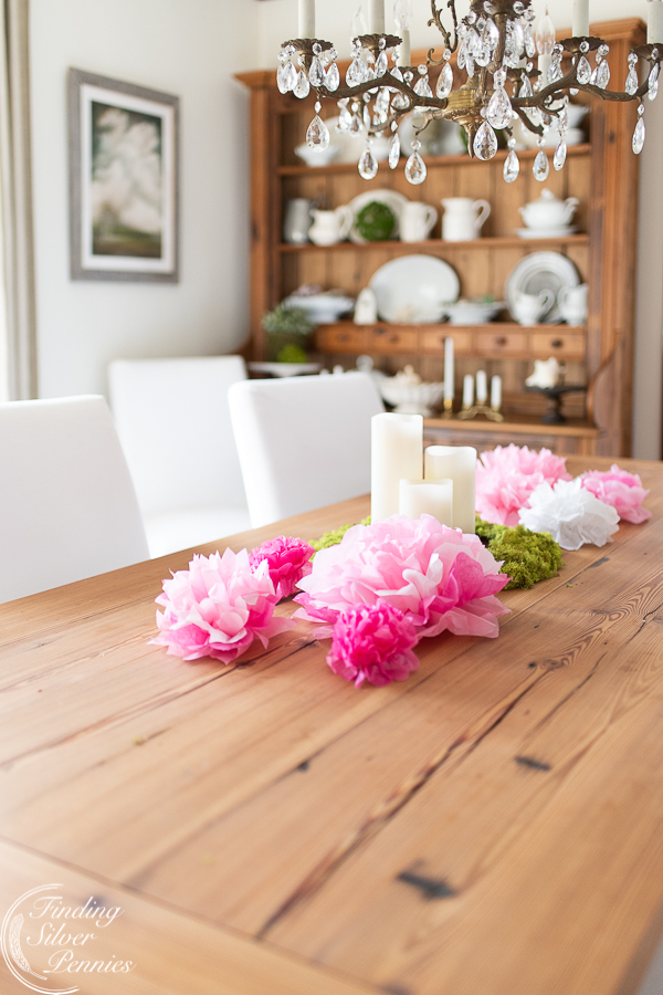 Tablescape with paper peonies #crafts #tissuepaperflowers #paperflowers #spring