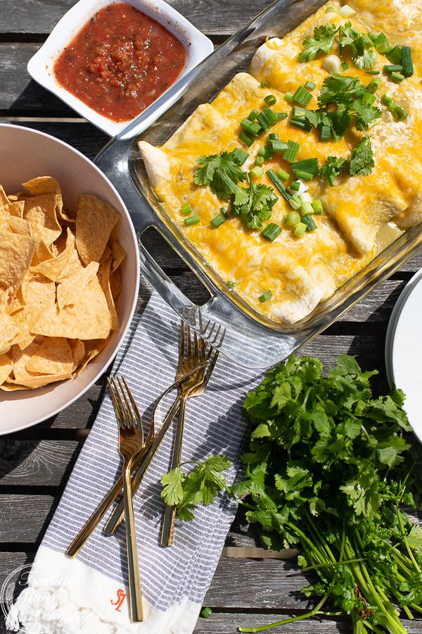 My families' favorite creamy enchiladas | Finding Silver Pennies #cincodemayo #recipe #healthy #mexican #enchiladas